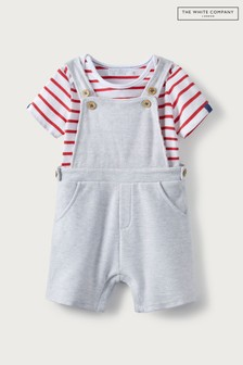 The White Company Shortie Dungarees And Striped T-Shirt Set