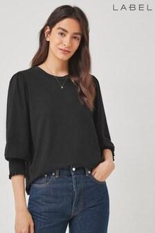Label Shirred Cuff T-Shirt