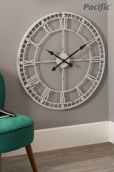 Pacific Soft Grey Metal Round Wall Clock
