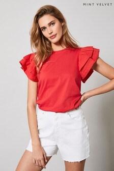 Mint Velvet Red Ruffled Sleeve Top