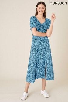 Monsoon Blue Floral Sweetheart Jersey Midi Dress