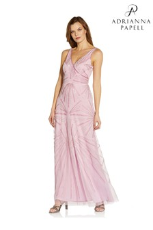 Adrianna Papell Pink Beaded Wrap Mermaid Gown