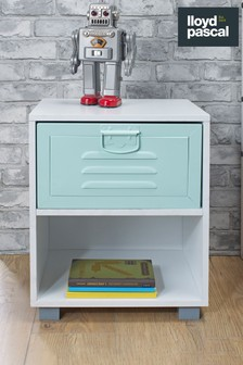 1 Drawer Bedside Table With Green Metal Drawer By Lloyd Pascal