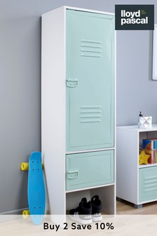 Green Metal Door Wardrobe in White By Lloyd Pascal