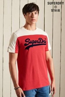 Superdry Men's Red Vintage Logo Colourblock T-Shirt