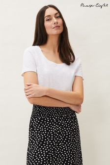 Phase Eight White Elspeth Cotton T-Shirt