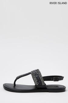 River Island Black Bead Toe Thong Sandals