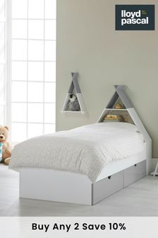 Lloyd Pascal White and Grey Headboard Tipi Bed