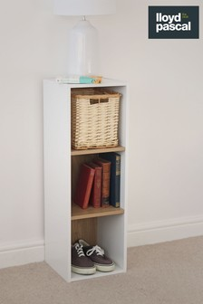 3 Cube Storage Unit in White and Oak Effect By Lloyd Pascal