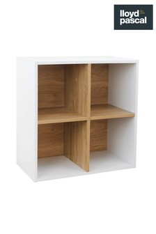 4 Cube Storage Unit in White and Oak Effect By Lloyd Pascal