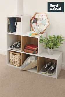 6 Cube Storage Unit in White and Oak Effect By Lloyd Pascal