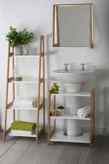 Murphy Wall Mirror With Shelf in Natural By Lloyd Pascal