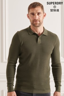 Superdry Green Studios Long Sleeve Knitted Polo Shirt