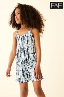 F&F Blue Tie Dye Co-ord Shorts Set