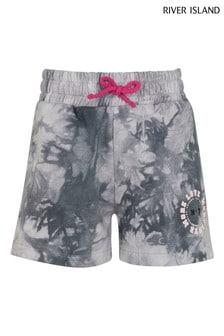 River Island Grey Tie Dye Boyfriend Shorts