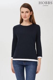 Hobbs Blue Amelie Cotton T-Shirt