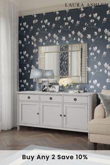 Henshaw Pale Steel 3 Door 3 Drawer Sideboard By Laura Ashley