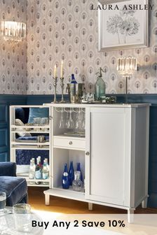 Henshaw Pale Steel Drinks Cabinet By Laura Ashley