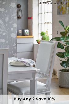 Henshaw Pale Steel Pair Of Dining Chairs by Laura Ashley