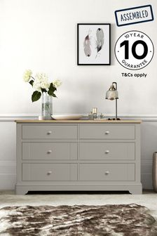 Hampton Country Luxe Painted Oak 6 Drawer Wide Chest
