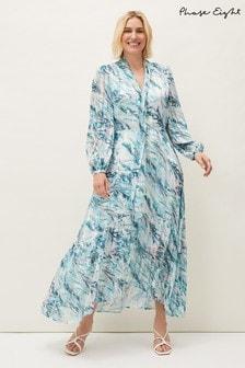 Phase Eight Blue Lauretta Abstract Print Maxi Dress