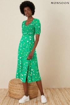Monsoon Nicky Floral Shirred Jersey Dress