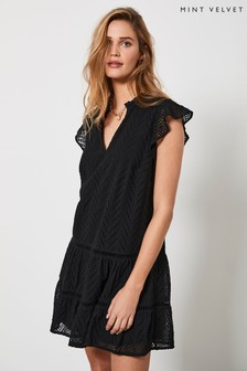 Mint Velvet Black Broderie Mini Dress