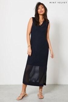 Mint Velvet Blue Stripe Knitted Midi Dress