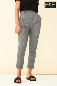 F&F White Puppytooth Crop Trousers