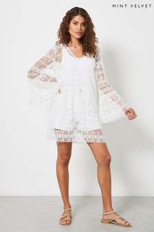 Mint Velvet Womens Off-White Crochet Mini Dress