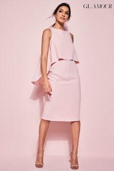 Glamour Pink Blush Overlay Shift Dress