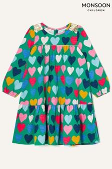 Monsoon Sequin Shoulder Heart Print Dress
