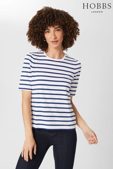 Hobbs Blue Eva Puff Sleeve T-Shirt
