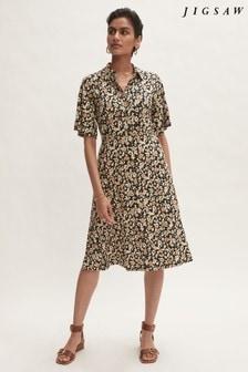 Jigsaw Cream Graphic Floral Jersey Dress
