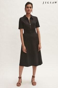 Jigsaw Black Ponte Zip Front Dress