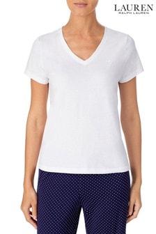 Lauren Ralph Lauren White Cotton Jersey V-Neck T-Shirt