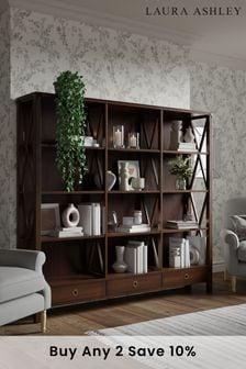 Laura Ashley Balmoral Dark Chestnut 3 Drawer Triple Bookcase