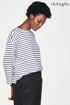Thought White Gracie Fairtrade And Gots Organic Cotton Stripe Top