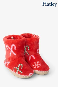 Hatley Red Candy Cane Christmas Fleece Slippers