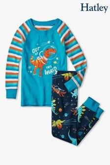 Hatley Blue Space Dinos Glow In The Dark Appliqué Raglan Pyjamas Set