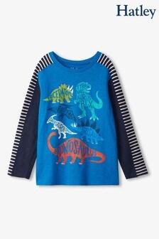 Hatley Blue Dino Names Preppy Long Sleeve T-Shirt