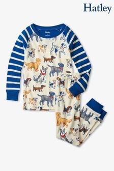 Hatley Cream Blue Pups Raglan Pyjama Set