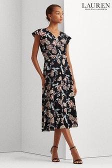Lauren Ralph Lauren Black Badgley Chintz Floral Dress