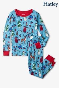 Hatley Blue Winter Wonderland Christmas Cotton Pyjama Set
