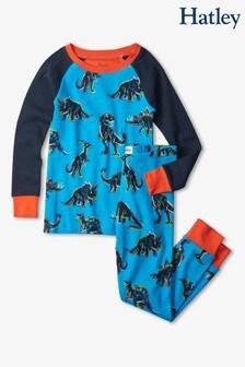 Hatley Red Electric Dinos Organic Cotton Raglan Pyjama Set