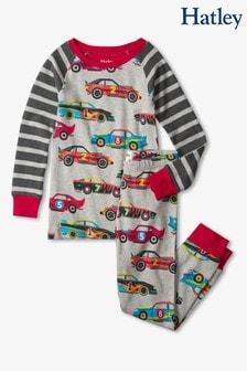 Hatley Grey Classic Race Cars Organic Cotton Raglan Pyjama Set