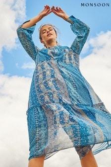 Monsoon Blue Paisley Print Midi Dress