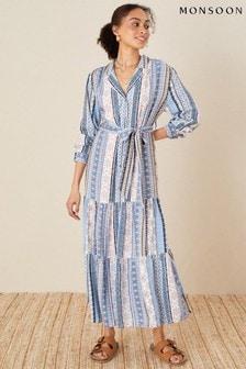 Monsoon Patch Print Stripe Shirt Dress