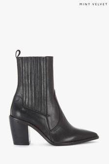 Mint Velvet Black Willow Leather Boots