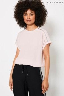Mint Velvet Pink Pale Pink Short Sleeved Top